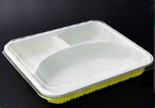 Plastic disposable food packaging, microwave lunch box